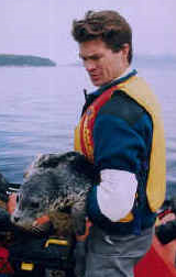 Peter is holding a seal